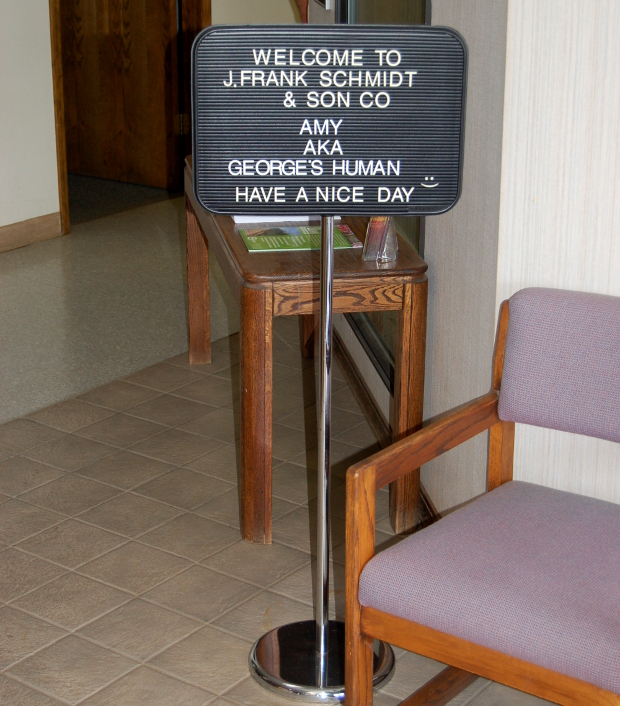 sign welcoming george's human to j. frank schmidt nursery