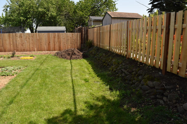 Backyard Landscaping Ideas And Before And After Photos Rock Wall After  050315 079